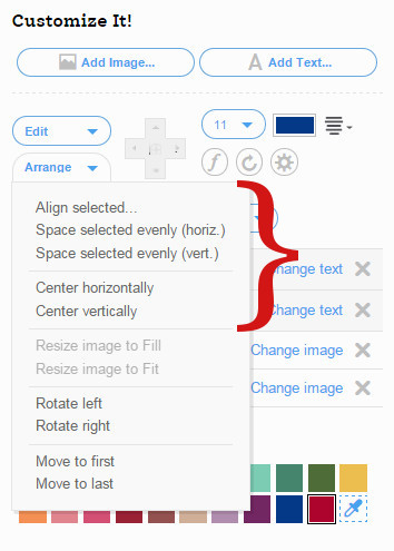 Image and Text Arrangement Options