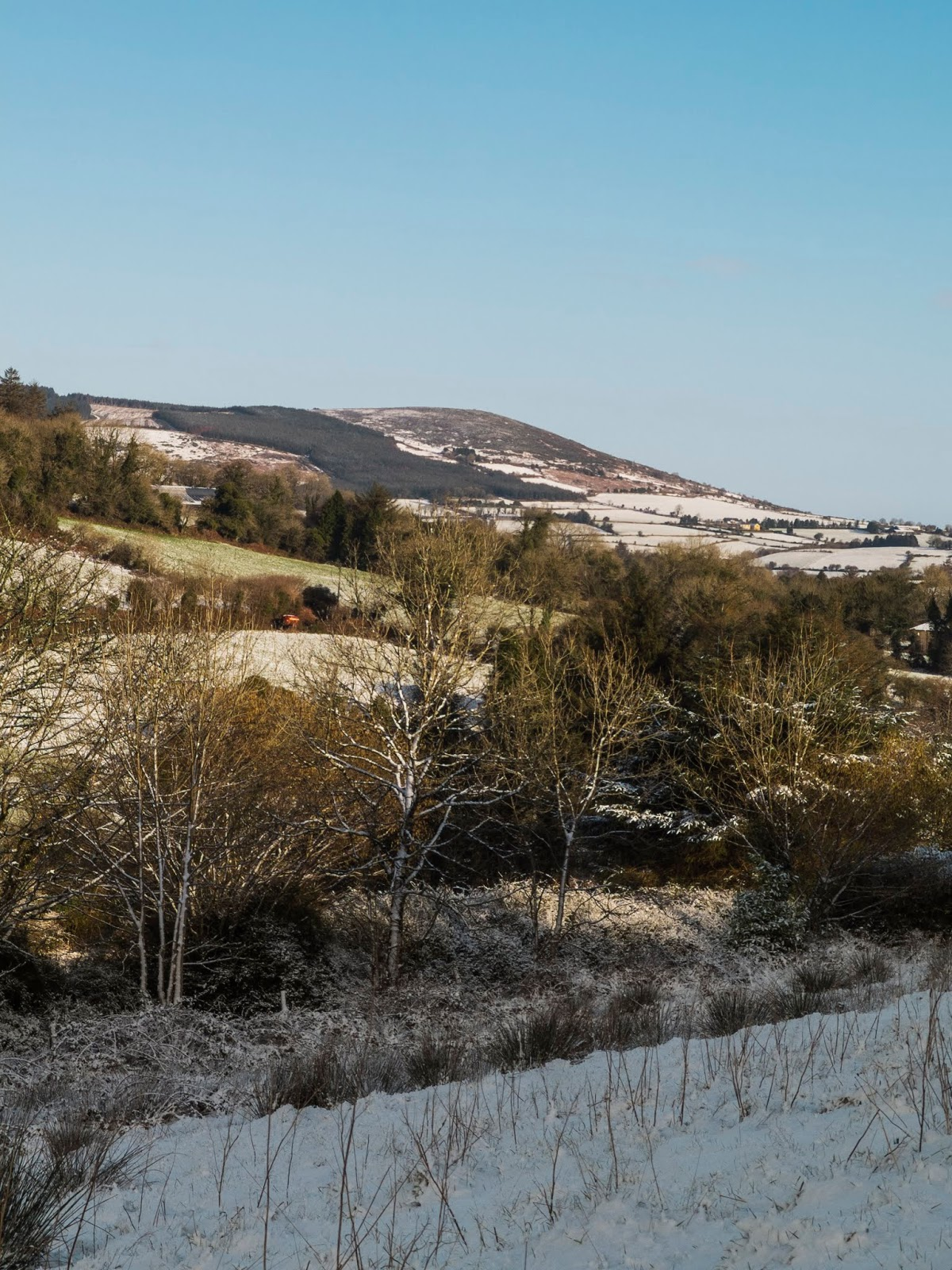 A snowy winter landscape on a sunny day in County Cork.