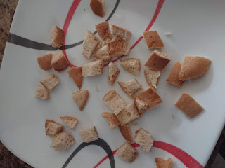 gluten free bread cut into cubes