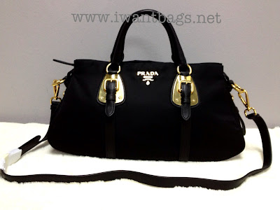33481822f7d5 Prada Tessuto Bauletto Solf Calf Top Handle Tote BN1903 -Black