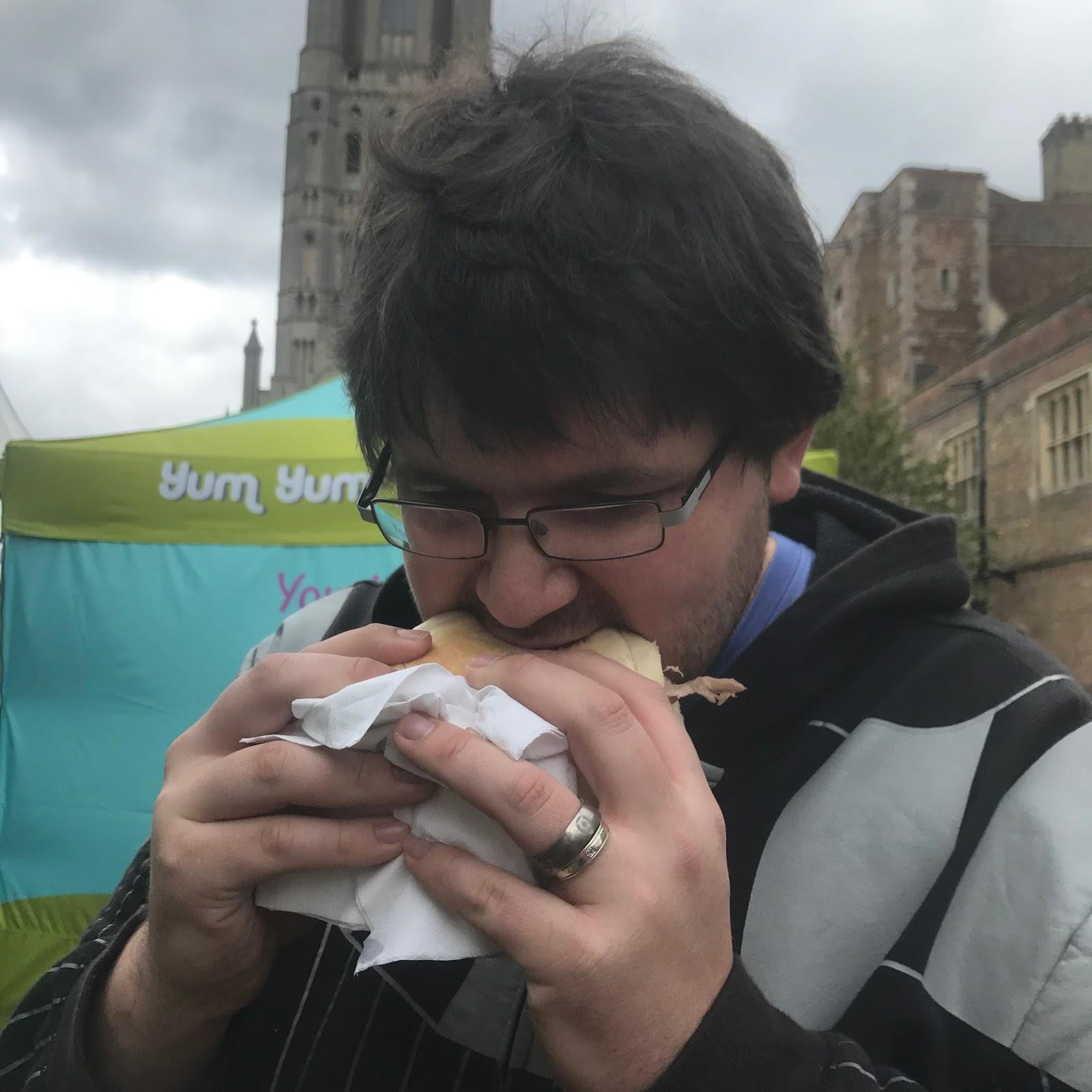 Ryan Trying a Hog Roast Ely Food Festival 2017