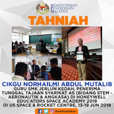 Ucapan tahniah daripada Kementerian Pendidikan Malaysia kerana terpilih untuk HESA 2018