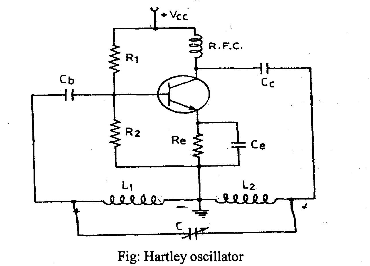 A Media To Get All Datas In Electrical Science September 2011 Hartley Oscillator Frequency Determining Network Is Parallel Resonant Circuit Consisting Of Inductors L1 And L2 Variable Capacitor C The Junction