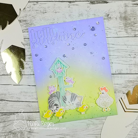 Kitty and Chicken Scene by Nakaba Rager | Newton's Birdhouse Stamp Set and Cluck Stamp Set by Newton's Nook Designs #newtonsnook #handmade