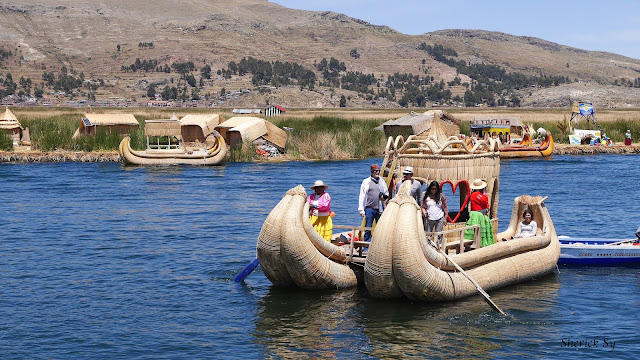 Totora Reed Boat and the Man-Made Uros Islands of Lake Titicaca, Puno, Peru