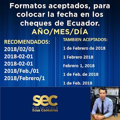 ¿Cómo colocar la fecha en cheques de ECUADOR?
