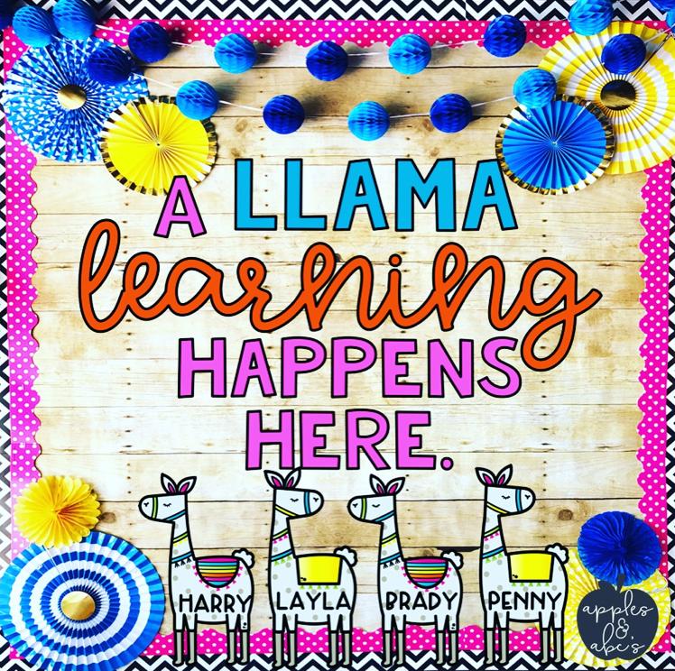 Classroom Decor Set Free ~ Llama classroom theme apples and abc s