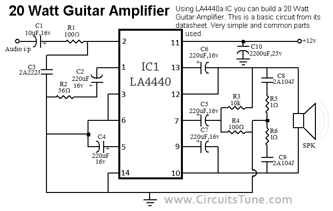 Build 20w Guitar   Diy on simple alarm circuit diagram