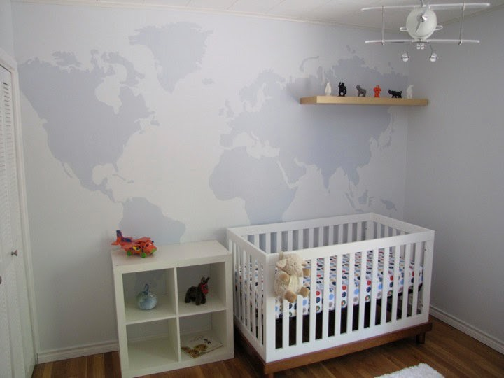 Mad For Mid Century World Map Wall Decal For A Travel Nursery