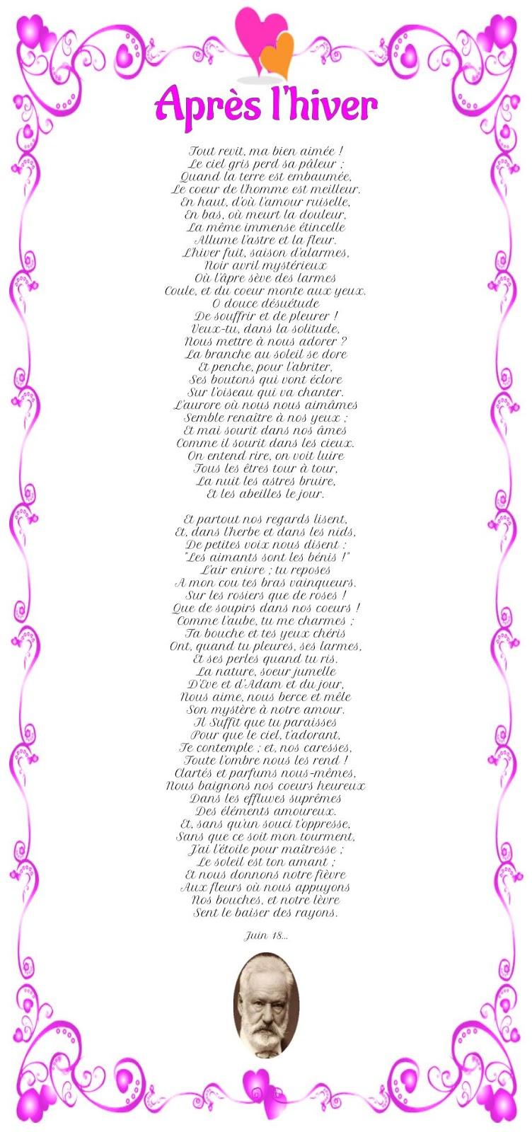 Poème Après l'hiver de Victor Hugo