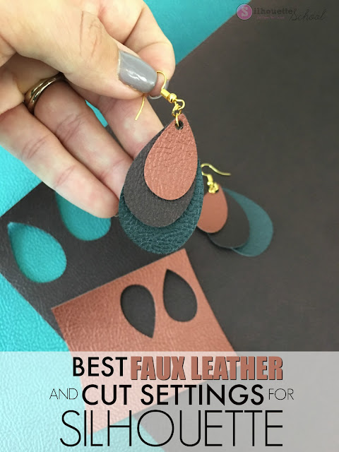 cutting faux leather, faux leather earrings, silhouette faux leather, silhouette leather cut, faux leather