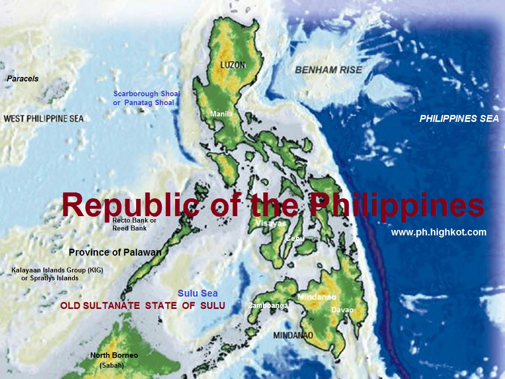Map of the Philippines with Philippinr Rise formerly known as Benham Rise