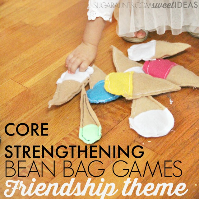 Friendship themed bean bag activity for gross motor core strengthening exercies