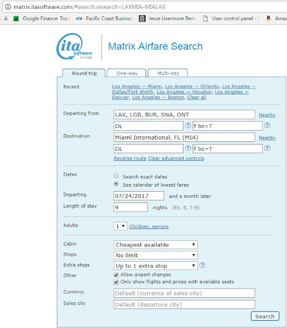 Search air line tickets by fare class
