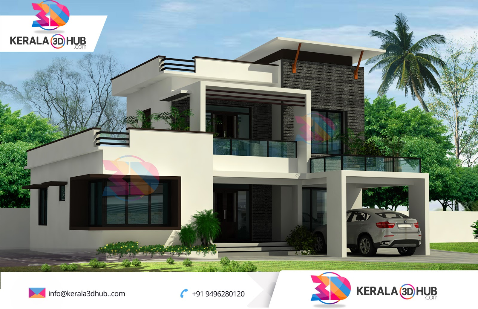 3d contemporary elevation veedu kerala joy studio design for Modern style mansions