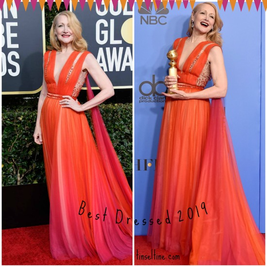 Golden Globe Red Carpet Tinsel & Tine Best Dress Patricia Clarkson