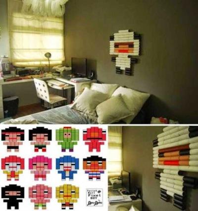 Kertas gulungan tisu jadi pixel art bentuk karakter kartun