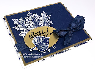 Linda Vich Creates: Thankful Vintage Leaves. A non-traditional Night of Navy color scheme used for this fall card that showcases Vintage Leaves and the Layered Leaves embossing folder.