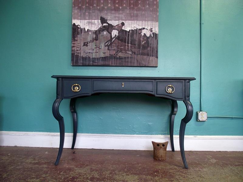 Vintage Deep Blue Distressed Desk