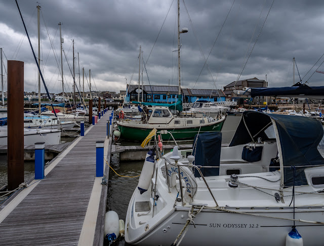 Photo of heavy grey cloud over Maryport Marina this afternoon (Friday)