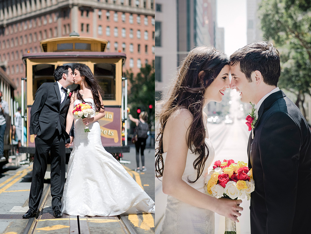 City wedding with Cable Car San Francisco