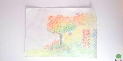 ciepłe kolory, kropki, punkty, tęcza, impresjonizm, neoimpresjonizm, światło, rysunek