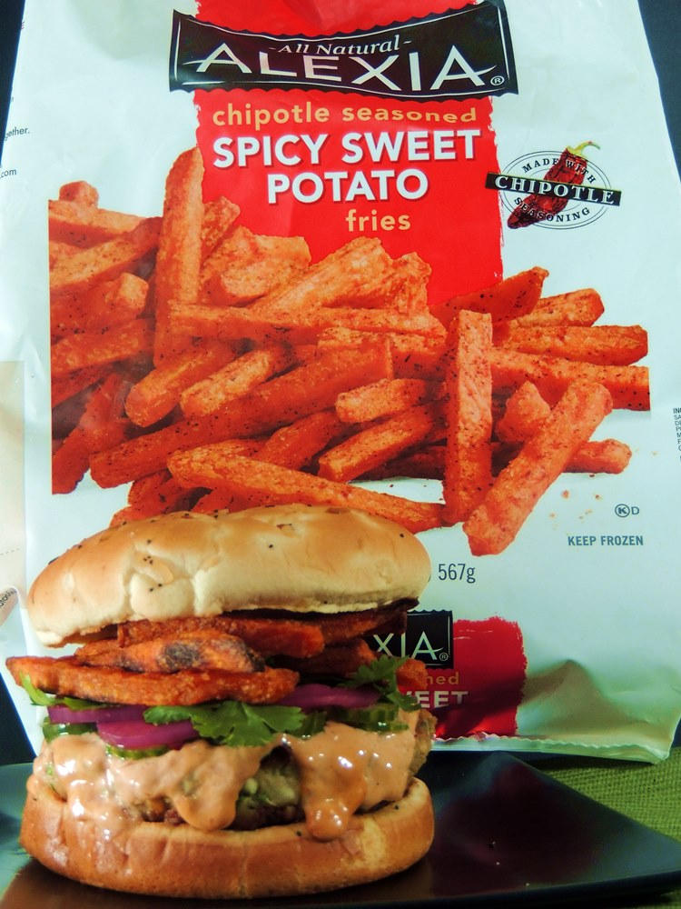 Asian Style Salmon Burgers with Hoisen Mayo and Spicy Sweet Potato Fries from www.bobbiskozykitchen.com