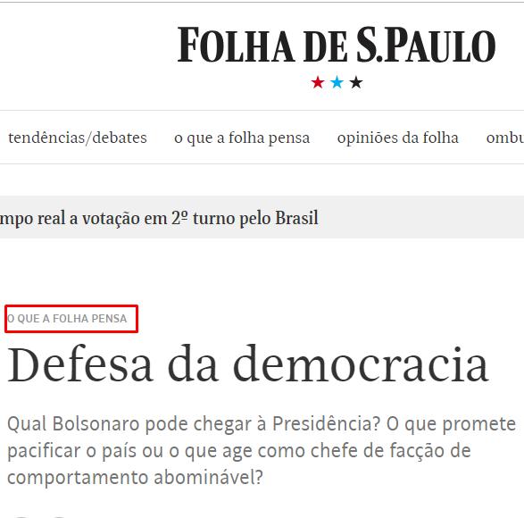 ATÉ NESTE DIA DE ESCOLHA DO NOVO PRESIDENTE A FOLHA DE SÃO PAULO DISPARA EDITORIAL ODIOSO CONTRA BOLSONARO