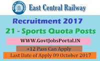East Central Railway Recruitment 2017– Sports Quota