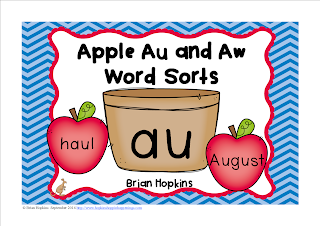 FREEBIE Apple Au and Aw Word Sort