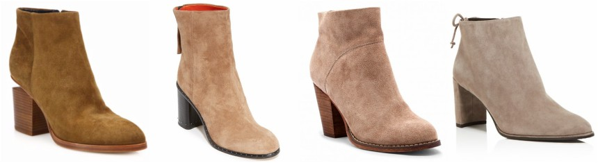 One of these pairs of suede booties is from Sole Society on sale for only $45 (reg $90) and the other three are from designers for $498+. Can you guess which one is the more affordable pair?