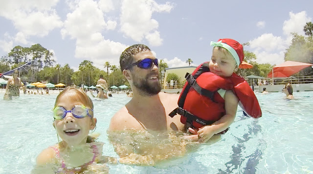 The West family takes in the Wave Pool at Adventure Landing