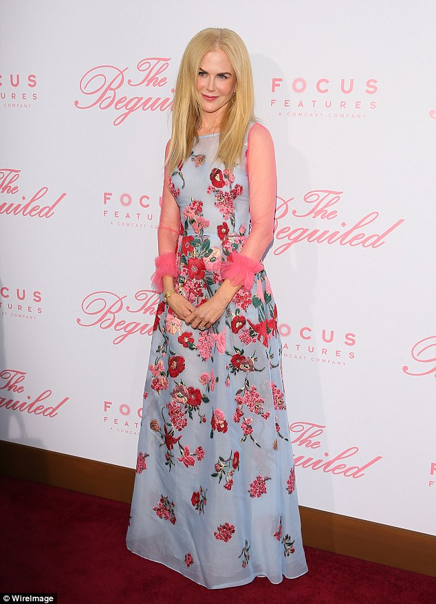 Nicole Kidman, 49, dazzles in a floral gown on the red carpet premiere of The Beguiled in Los Angeles