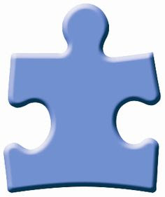 Blue puzzle piece with beveled edges, such as that used as a logo by Autism Speaks
