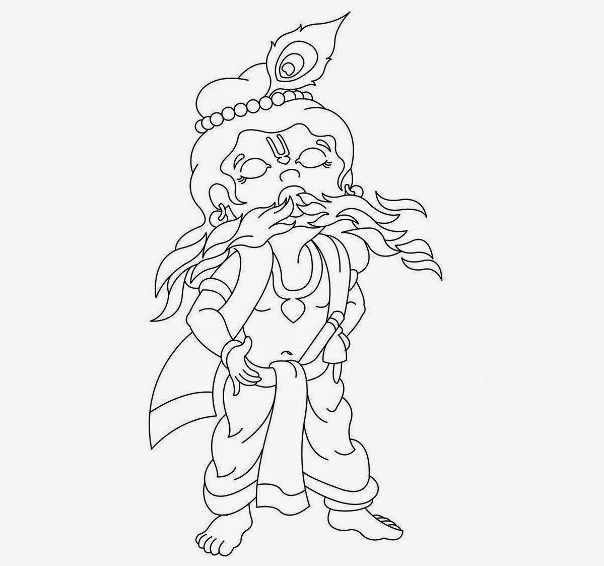 Lord Baby Krishna Coloring Drawing Free Wallpaper Anggela Coloring