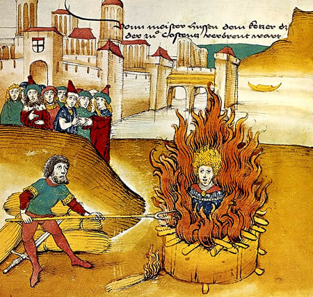 John Huss being burned at the stake