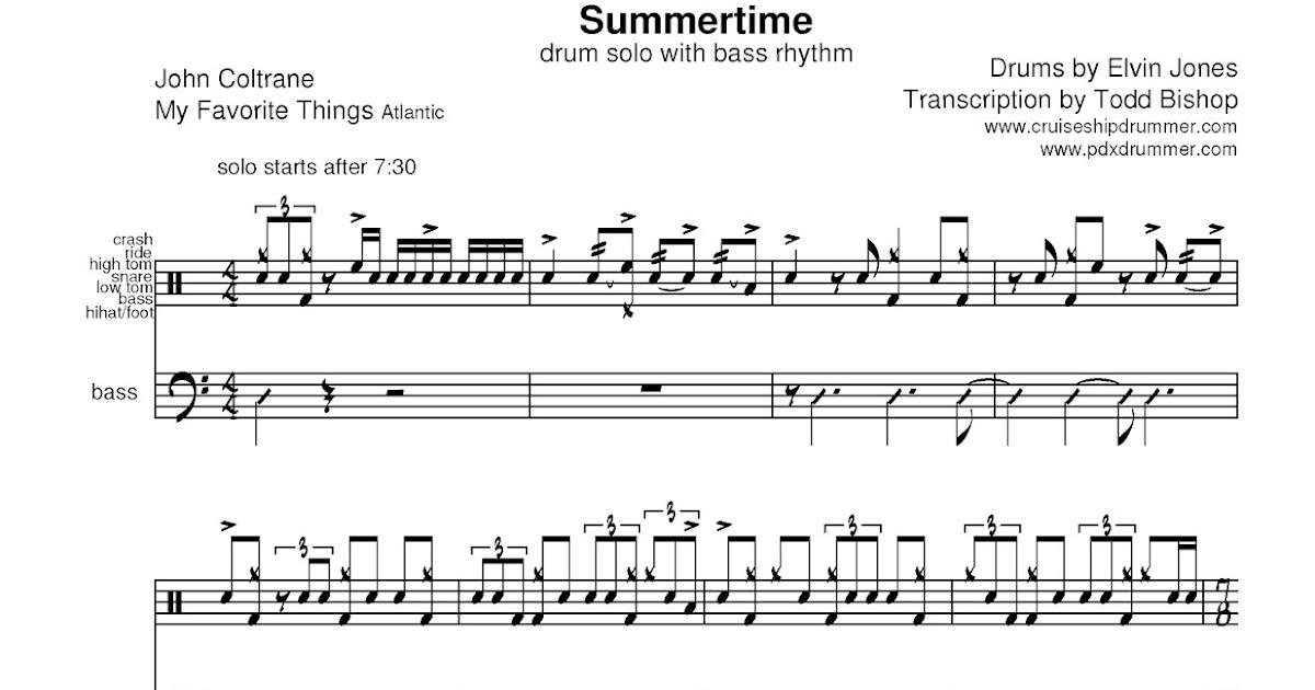 Cruise Ship Drummer!: Transcription: Elvin Jones — Summertime
