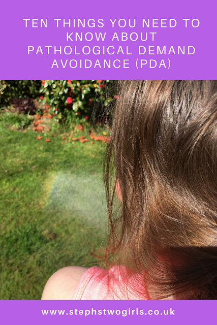 girl with rainbow in garden ten things Pathological Demand Avoidance pinterest image