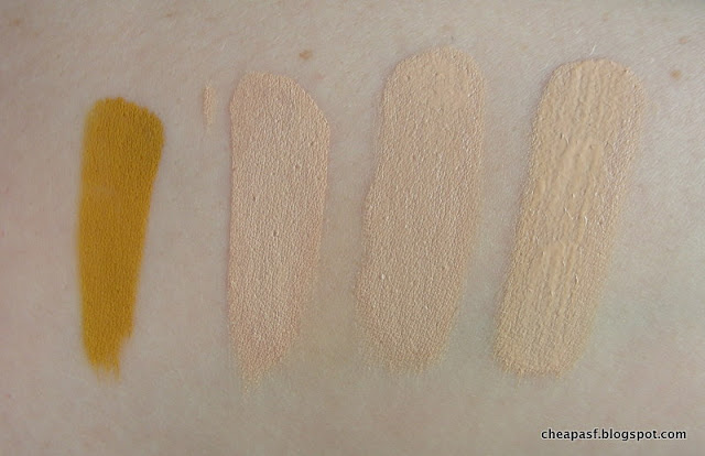 Swatches (left to right): Life's Entropy Foundation Elixir in Yellow, Revlon ColorStay Makeup for Oily/Combination in Ivory, 4-5 drop of Yellow added to Revlon bottle, 8-10 drops of Yellow added to Revlon bottle