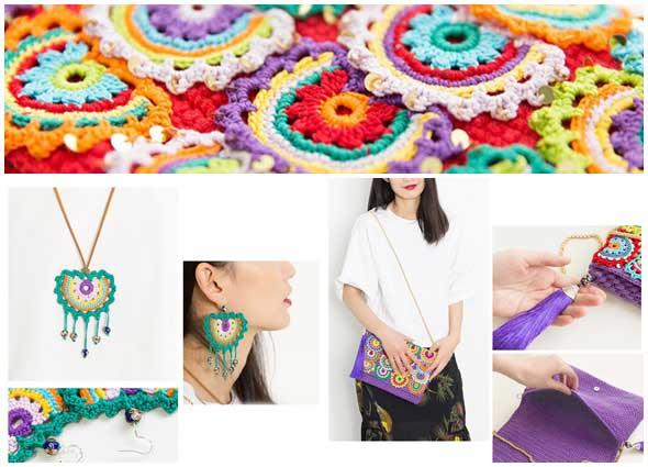 tres piezas a crochet bolso, pendientes y colgantes