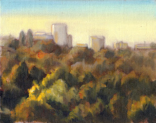 Oil painting of tree canopies viewed from above fading to distant buildings on the horizon.