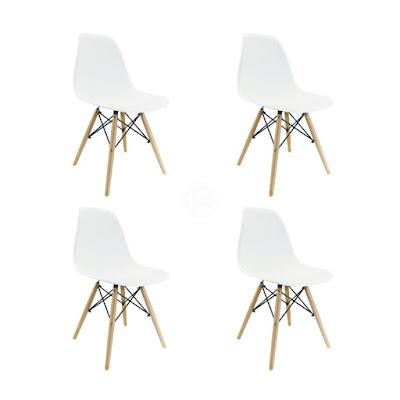 Cablematic KE07-VCES - Silla inspirada en torre Eiffel de haya, color blanco marfil