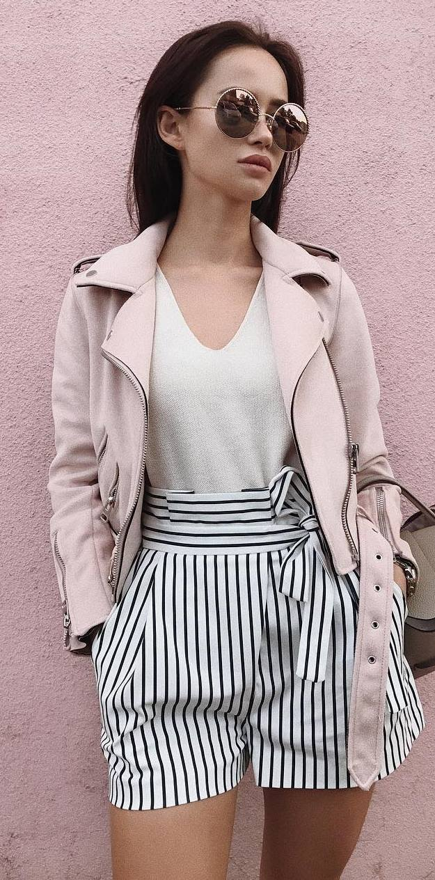 what to wear with stripped shorts : pink biker jacket + top + bag