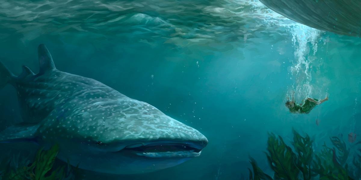 Ilustração de Jonas e o grande peixe
