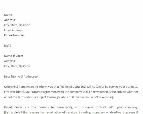 Termination of Services Letter to Client