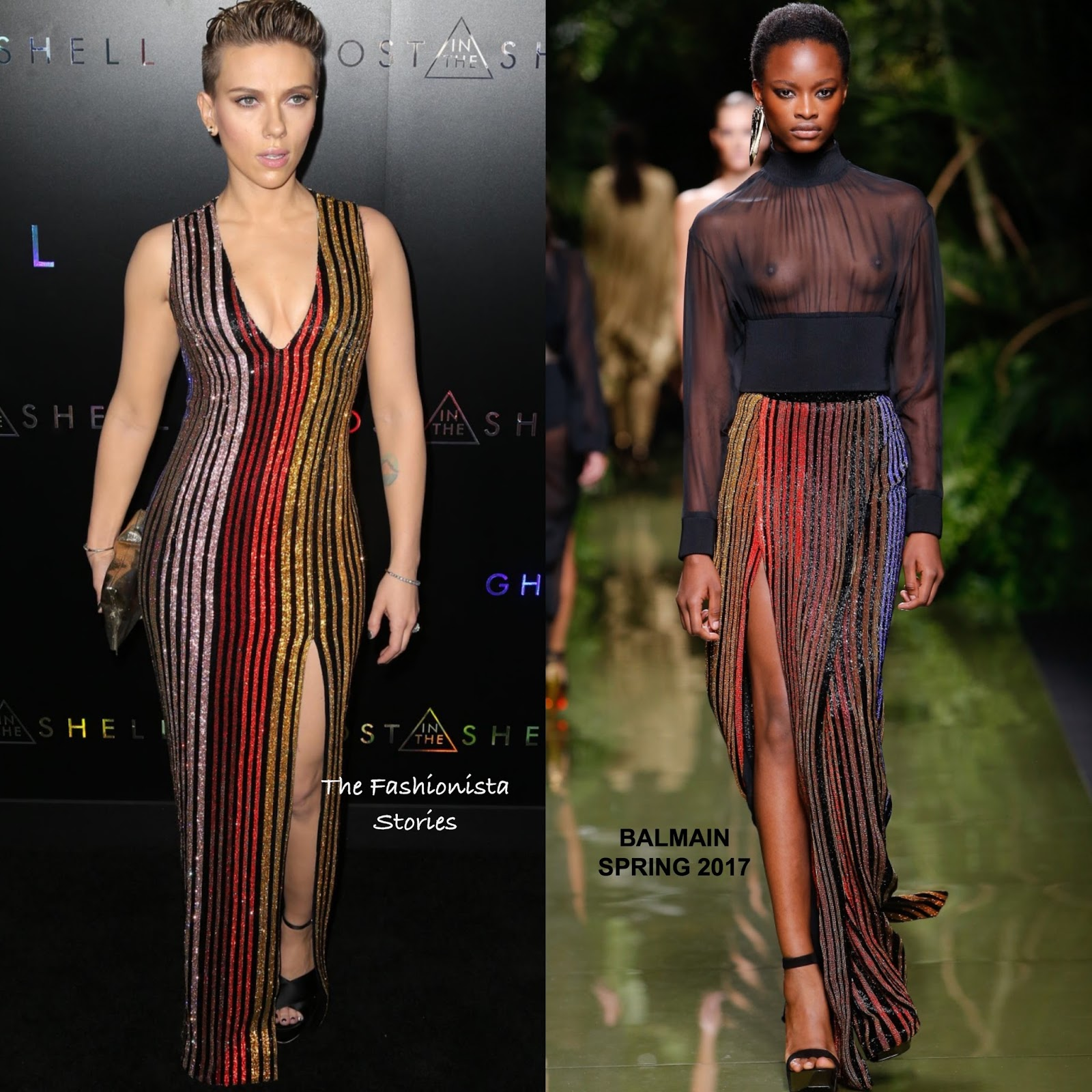 Scarlett Johansson In Balmain At The Ghost In The Shell Ny Premiere