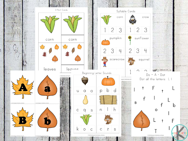 fall kindergarten worksheets to practice alphabet letters, syllables, beginning letter sounds and more