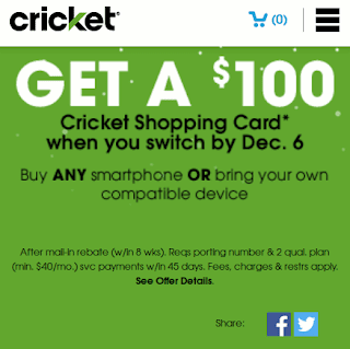 Get A $100 Cricket Shopping Card when you switch by Dec. 6