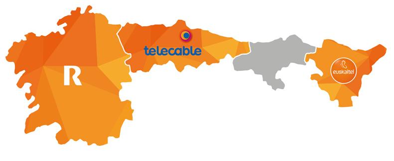 Euskaltel, R y Telecable presentes en Galicia, Asturias y País Vasco lideran las telecomunicaciones del norte.