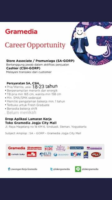 Lowongan Kerja Gramedia Jogja City Mall